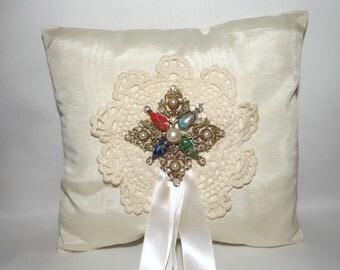 Victorian Ring Bearer Pillow/ Ivory Wedding Pillow OOAK