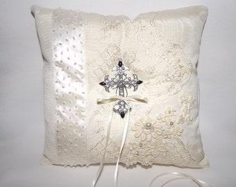 Ivory Ring Bearer Pillow/ Christian Wedding Ring Pillow/ LACE Wedding Ring Bearer Pillow/  OOAK Couture/ Beaded Ring Cushion, Bridal Pillow