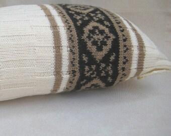Knitted Wool Lumbar Pillow Case, Decorative Natural white Pillow, Beige Black Jacquard Pillow Cover, Rustic Pillow Sham, Home Decor, 12x18