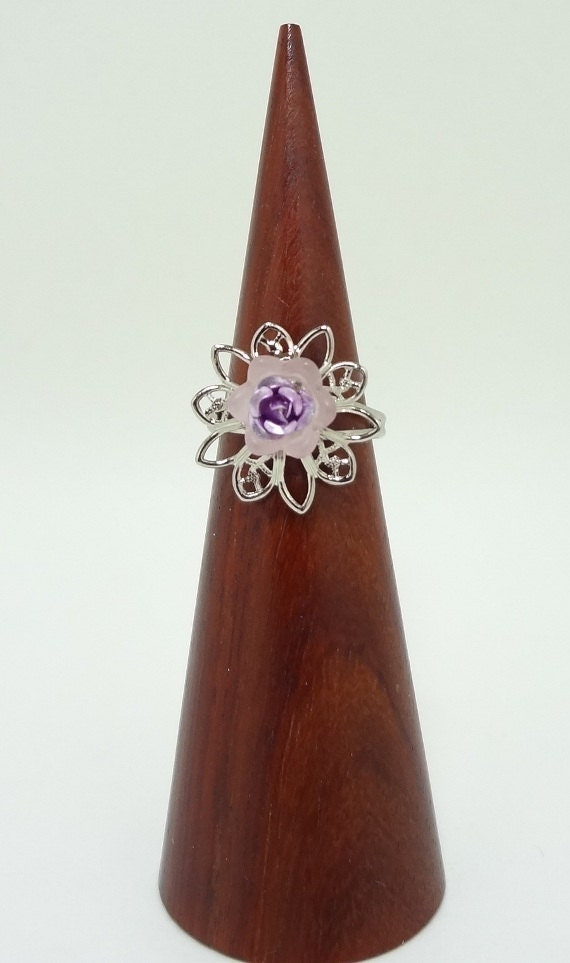 Flower Statement Ring, Purple Tulip On Top of a Silver Flower Filigree Adjustable Band