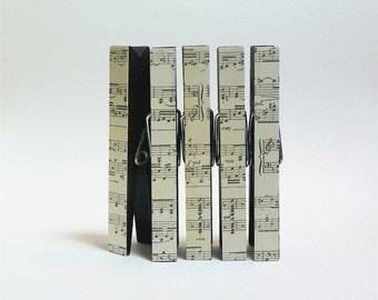 Decorative Clothespin Magnets. Kitchen Magnets. Black with Music Sheet Paper. Teacher Gift. Stocking Stuffer. Music Lover Gifts.