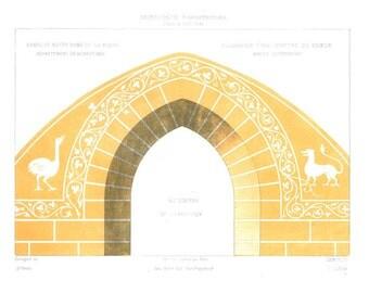 1861 Original French Architectural Print Color Lithograph Ornaments Chapelle Notre Dame de la Roche