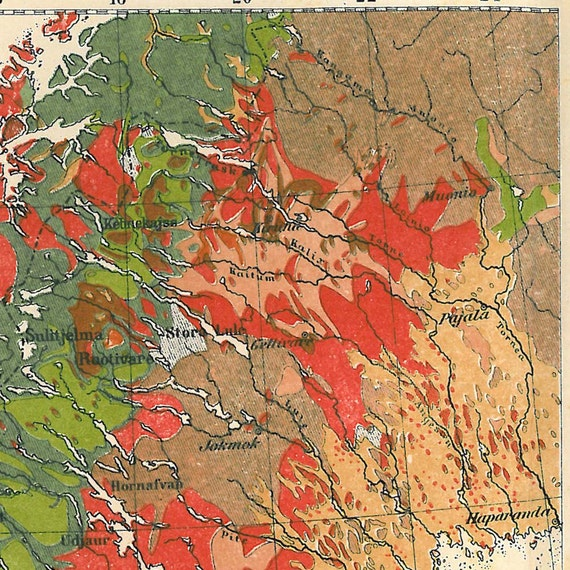 Sweden Vintage Map Geology  1920s Wall Hanging Home Decor