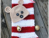 Instant Download -  Bear Peek A Boo Christmas Stocking Cocoon - 0-3 Month Size - Crochet PDF Pattern