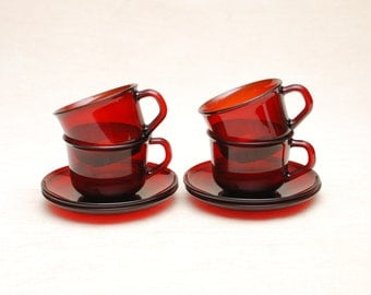 Cups & Saucers: Ruby Red Glass Cups with Saucers (Set of 4) - Glass Cups, Red Cups, Set Set, Coffee Cups, Valentine's Gift, Cranberry Color