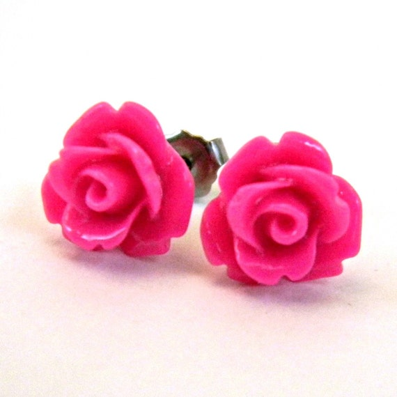 Hot Pink Earrings  Tiny Glossy Opaque Rose Cabochon Titanium Post Earring Hypoallergenic Minimalist Jewelry Punk Rocker