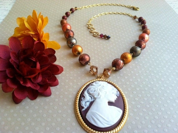 Cameo necklace with white and red lady cameo and Swarovski crystals and pearls - handmade, romantic jewelry