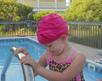 Fancy Ruched Swim Cap with Flower - Lycra SWiM CaP - Hot Pink - Infant - Toddler - Child - Adult - 4 sises available
