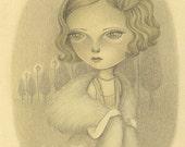 1920s Inspired Flapper Girl Original Pencil Drawing , Vintage Inspired Original Art - Flee by Amalia K FREE SHIPPING