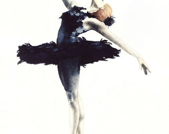 Black Swan Art Swan Lake Ballerina Painting Ballet Wall Art Dance Studio Art Dancer Painting Ballet Dancer Art Ballet Watercolor Art