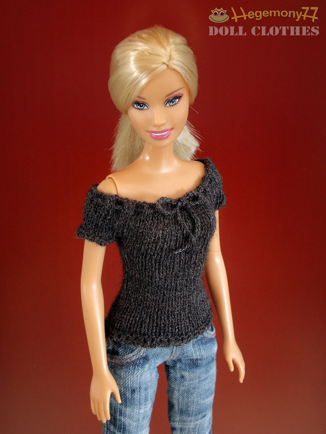 Knitting Clothes For Barbie Dolls : Hand knit doll top for barbie pullip momoko cm obitsu