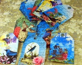 Birds Collage style gift tags set of 12 ships FREE