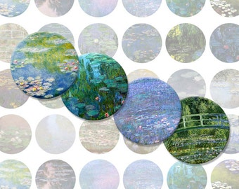 Monet Bottlecap Images / Monet's Waterlilies Paintings, Fine Art / Printable Digital Collage 1-Inch Circles / Instant Download