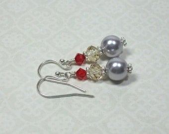 Pale Lavender, Golden Shadow, and Red Beaded Earrings, Hand Wirewrapped