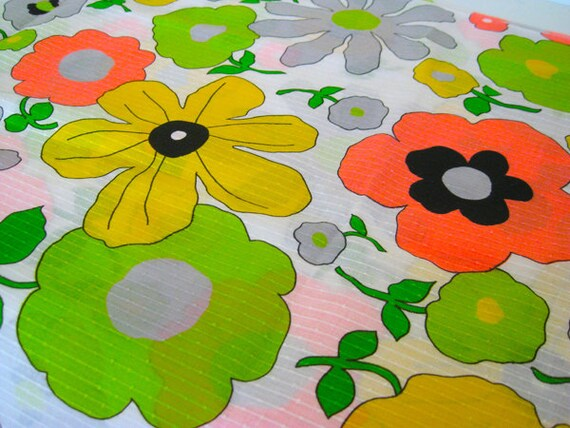 """Vintage Fabric - Neon Coral, Lime and Yellow Tropical Flowers 36""""L x 44""""W -NehiandZotz"""
