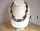 Black Statement Necklace, Black Chunky Necklace, Gemstone Necklace, Beaded Necklace, Quartz Necklace Set