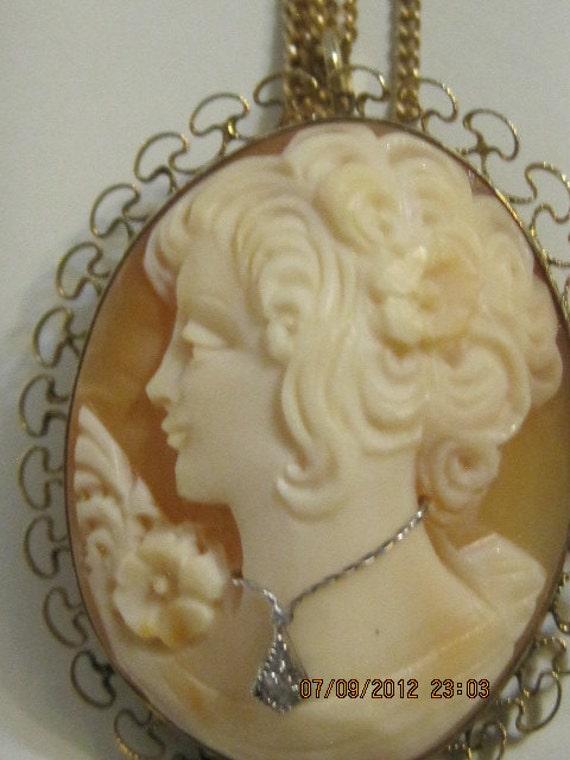 Vintage Cameo Diamond Pendant/Brooch Necklace