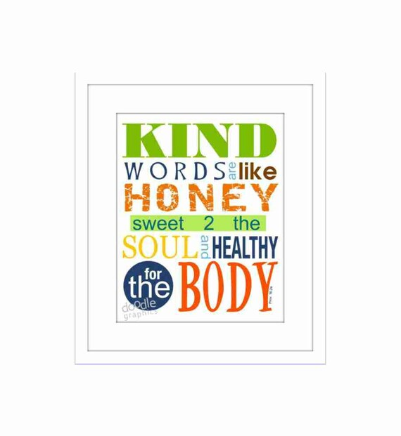 Scripture Art, Wall Decor, Christian Scripture Print, Kind Words, Be Kind, Proverbs 16. 24