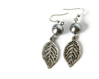 Gray Earrings - Simple Earrings - Leaf Earrings with Glass Beads - Everyday Jewelry - Hypoallergenic Earrings