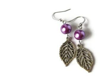 Purple Earrings - Glass Pearl Earrings - Purple Dangle Earrings - Tween Jewelry - Purple Bridesmaids - Everyday Jewelry - Purple Pearl Gift