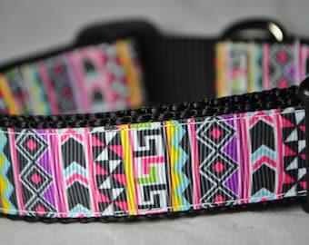 "Aztec Colorful Geometric 1"" Adjustable Dog Collar"