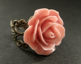 Antique Pink Rose Ring. Pink Flower Ring. Filigree Ring. Adjustable Ring. Flower Jewelry. Handmade Jewelry.