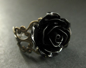 Black Rose Ring. Black Flower Ring. Filigree Ring. Adjustable Ring. Flower Jewelry. Handmade Jewelry.