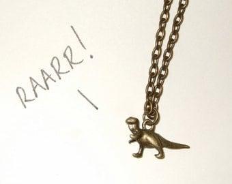 Dinosaur Necklace, Tyrannosaurus Rex, Bronze Dinosaur Charm, Tiny Dinosaur, T Rex Necklace, Small Dinosaur Charm, Palaeontologist Gift