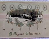 Vintage Christmas Postcard 1912 - Winter Scene