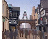 Retro Style Chester Eastgate Print - A3 Unframed