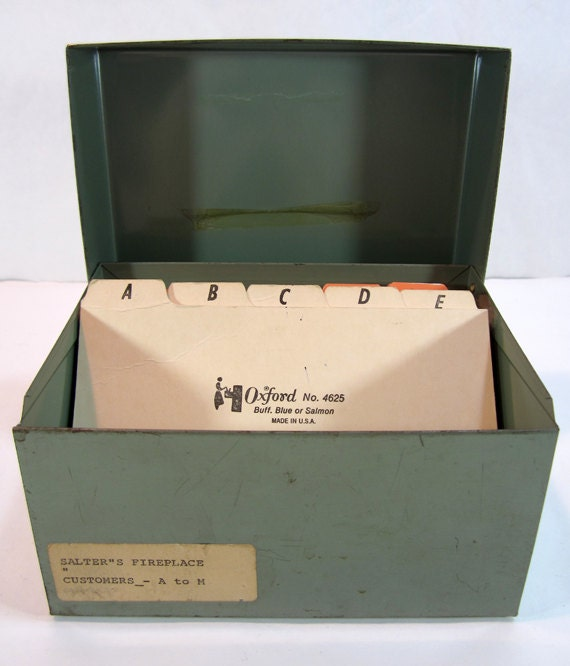 1960's Vintage Green Metal Organization / Recipe Box With Alphabetized Cards
