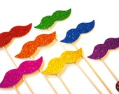 Photo Booth Props  - Rainbow Glitter Mustaches on a Stick - Set of 7 - Rainbow Mustaches