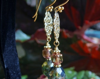 Romantic czech beads champagne olive green gold accented earrings
