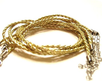 5 GOLD  4mm Braided, Faux Leather,  Necklaces w/ Ends and Clasps