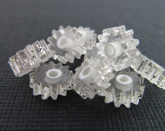 40 Vintage 4x8 Lucite Silver Glitter Clear Tube Beads Bd367