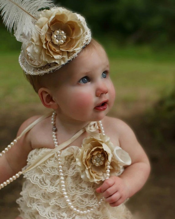 Hollywood Vintage Romper and Mini Top Hat Set in Ivory/Champagne, Birthday Outfit , baby Rompers, Pageant, Wedding, Baby Girl Romper