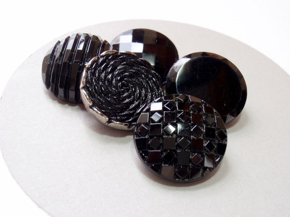 Black Glass Buttons, 18 mm Mixed Group of 5 Textured Vintage 1980s Buttons