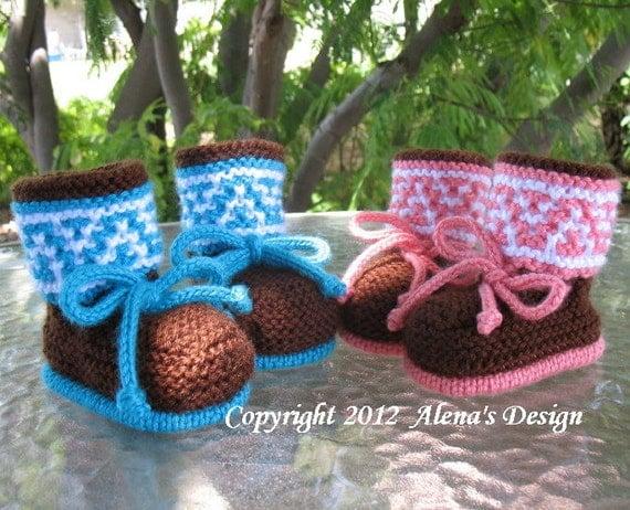 Knitting Pattern 050 - Knitting Booties Pattern - Booties Knitting Pattern for High-Top Baby Booties - Newborn Baby Boys Baby Girls