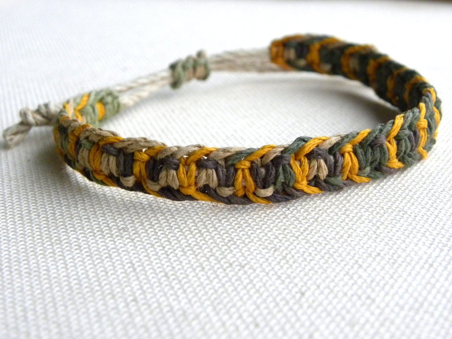 mens macrame bracelet s hemp macrame bracelet camo and yellow hemp 7713