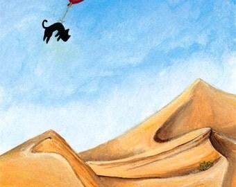 Black Cat Print, Desert Wall Art, Custom Size, Balloon Decor, Large Poster, Flying Gift, Animal Illustration, Blue Sky, Adventure Awaits