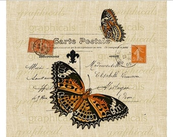 Orange butterfly Paris decor carte postale stamp instant digital download image for fabric transfer decoupage paper burlap pillow No. 496