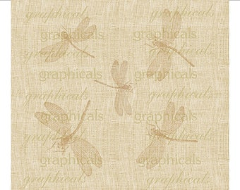 Vintage Dragonflies tan Digital download graphic image for iron on fabric transfer burlap decoupage pillows tote bags cards No. 1745