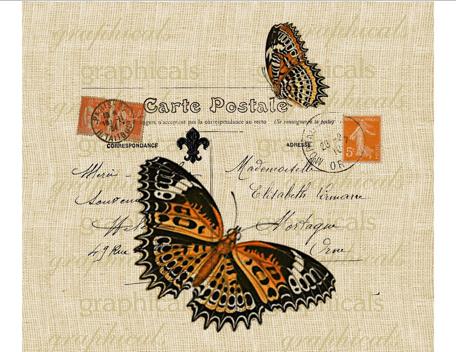 orange butterfly paris decor carte postale stamp instant. Black Bedroom Furniture Sets. Home Design Ideas