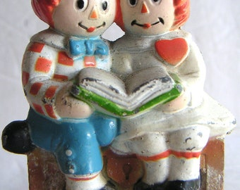 Vintage Metal Raggedy  Ann and Andy Figurine by Bobbs Merrill, Best of Friends
