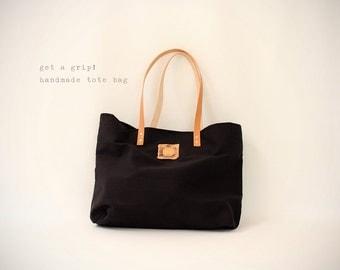 CANVAS Tote... Petite CLASSIC BLACK tote bag