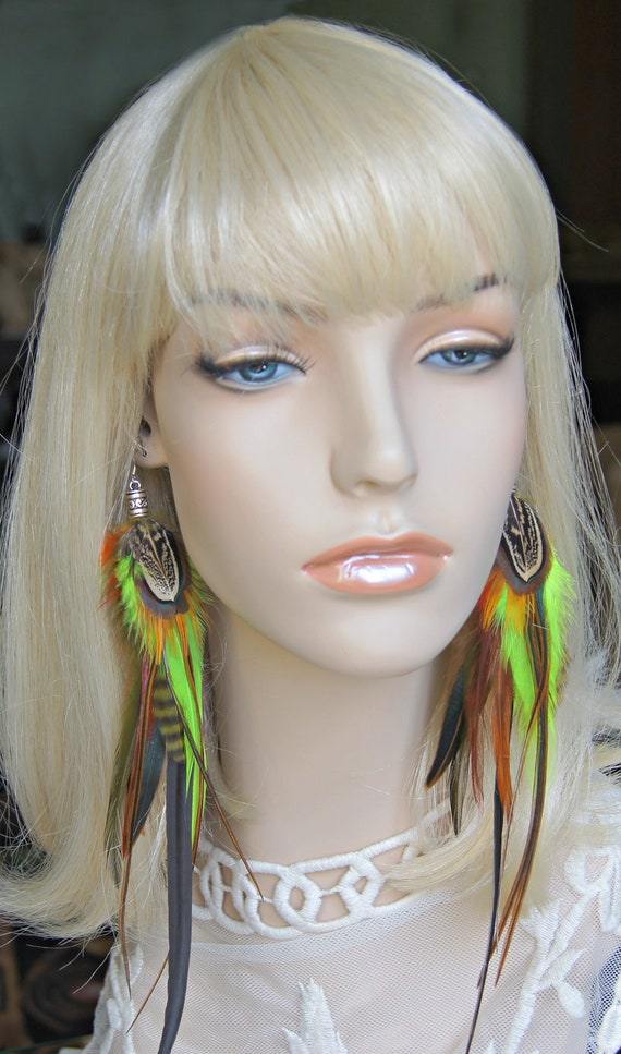 Feather Earrings - Long Feather Earrings - Earth Gypsy - Brown, green and orange Metz Whiting feathers