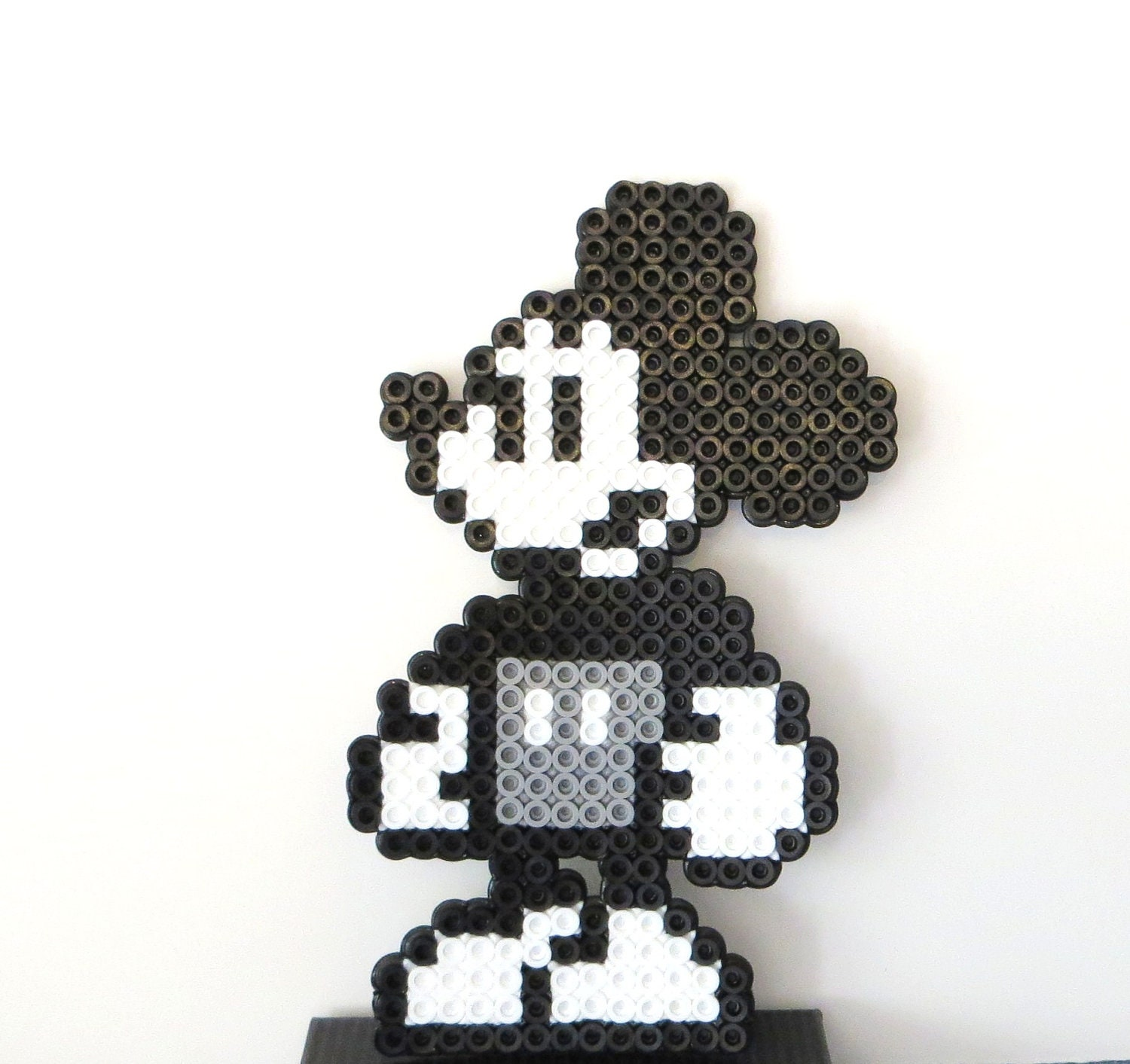 steamboat willie mickey pixel art created with perler beads. Black Bedroom Furniture Sets. Home Design Ideas