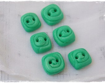 Mint Green Buttons, Polymer Clay Buttons, Tiny Square Buttons, Small Clay Buttons, Handmade Green Buttons, Square Buttons, Knitting Supplies
