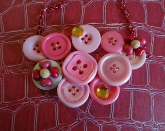 Pink Posies Button Necklace  Vintage Buttons Button jewelry  Repurposed Buttons T1218