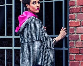 Olivia Hooded Cape - women's poncho, shawl, shrug, pleats, lined hood, large buttons, warm, seasonal, fall, winter, spring, wool, fantasy